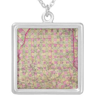 Lithographed Map of Maine Silver Plated Necklace