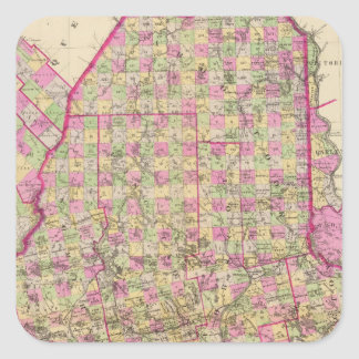 Lithographed Map of Maine Square Sticker