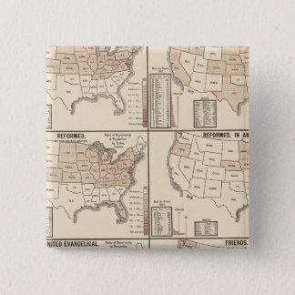 lithographed maps of denominational statistics 15 cm square badge