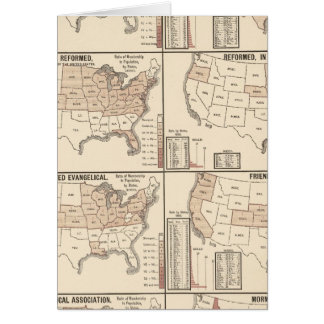 lithographed maps of denominational statistics card