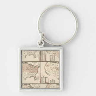 lithographed maps of denominational statistics key ring