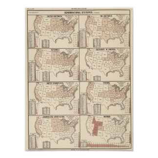 lithographed maps of denominational statistics poster