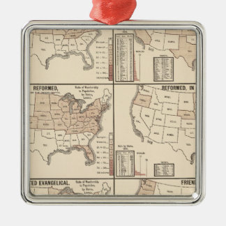 lithographed maps of denominational statistics Silver-Colored square decoration