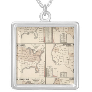 lithographed maps of denominational statistics silver plated necklace