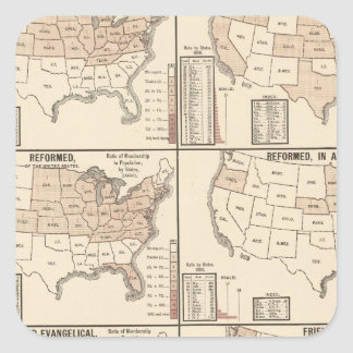 lithographed maps of denominational statistics square sticker