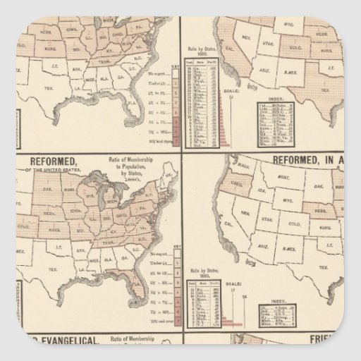 lithographed maps of denominational statistics sticker