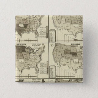 lithographed maps of United States 15 Cm Square Badge