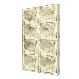 lithographed maps of United States Canvas Print
