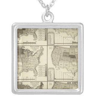 lithographed maps of United States Silver Plated Necklace