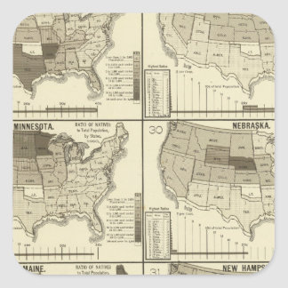 lithographed maps of United States Square Sticker