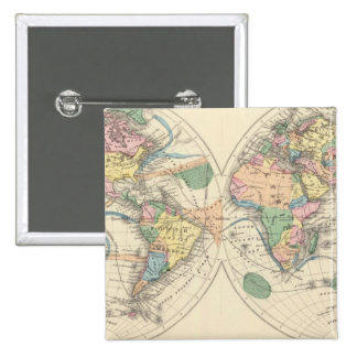 Lithographed World Map 15 Cm Square Badge