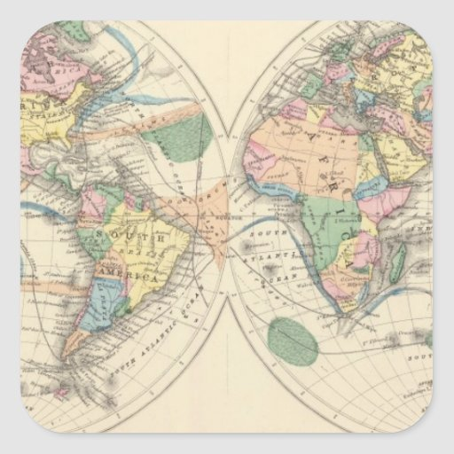 Lithographed World Map Square Stickers