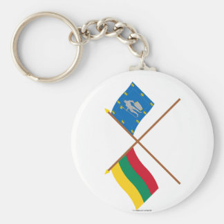 Lithuania and Alytus County Crossed Flags Basic Round Button Key Ring