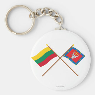 Lithuania and Kauno County Crossed Flags Basic Round Button Key Ring