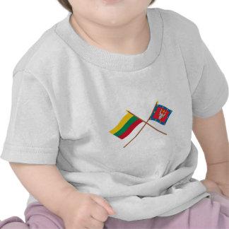 Lithuania and Kauno County Crossed Flags T Shirts