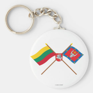 Lithuania and Kauno County Crossed Flags with Arms Keychain