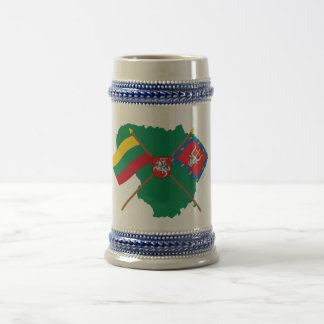 Lithuania and Kauno County Flags, Arms, Map Beer Stein