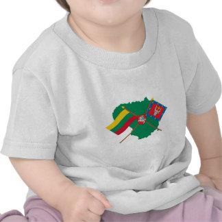 Lithuania and Kauno County Flags Arms Map Tshirt