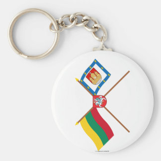 Lithuania and Klaipeda County Flags with Arms Key Ring
