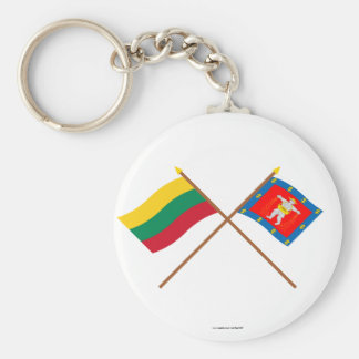 Lithuania and Marijampole County Crossed Flags Basic Round Button Key Ring