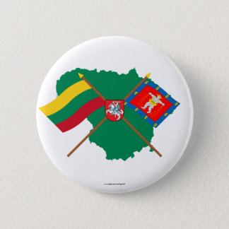 Lithuania and Marijampole County Flags, Arms, Map 6 Cm Round Badge