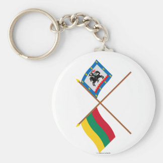 Lithuania and Panevezys County Crossed Flags Keychains