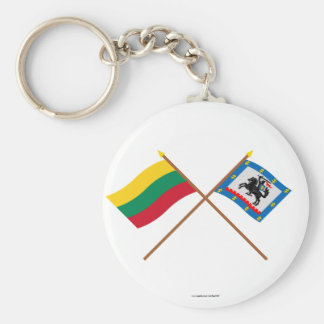 Lithuania and Panevezys County Crossed Flags Basic Round Button Key Ring