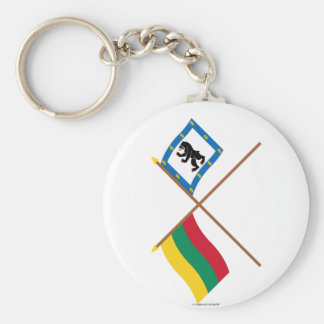 Lithuania and Siauliai County Crossed Flags Basic Round Button Key Ring