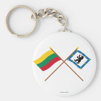Lithuania and Siauliai County Crossed Flags Keychains