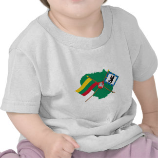 Lithuania and Siauliai County Flags Arms Map T-shirt