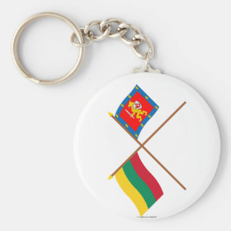 Lithuania and Taurage County Crossed Flags Basic Round Button Key Ring