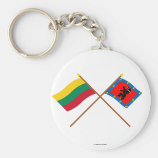 Lithuania and Telsiai County Crossed Flags Basic Round Button Key Ring