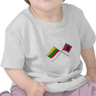 Lithuania and Telsiai County Crossed Flags T Shirt