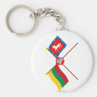 Lithuania and Utena County Crossed Flags with Arms Basic Round Button Key Ring
