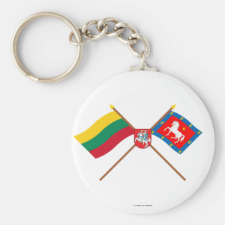 Lithuania and Utena County Crossed Flags with Arms Keychain