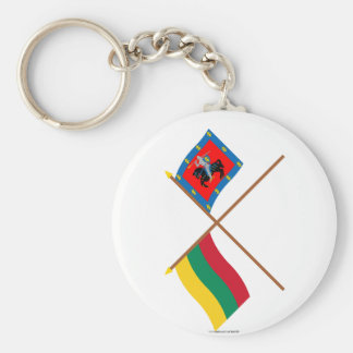 Lithuania and Vilnius County Crossed Flags Keychain