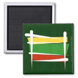 Lithuania Brush Flag Square Magnet