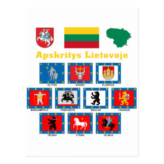 Lithuania County Flags Postcard
