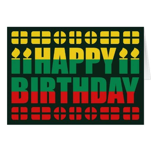 Lithuania Flag Birthday Card