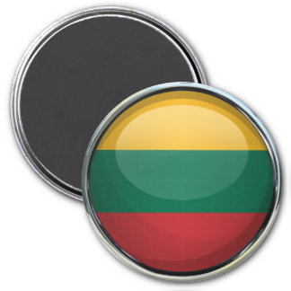 Lithuania Flag Glass Ball 7.5 Cm Round Magnet