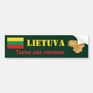 Lithuania Flag + Map Bumper Sticker
