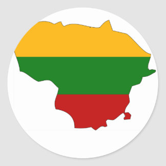 Lithuania flag map classic round sticker