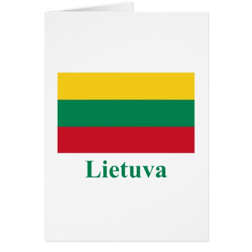 Lithuania Flag with Name in Lithuanian Card