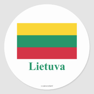 Lithuania Flag with Name in Lithuanian Classic Round Sticker