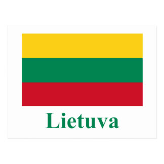Lithuania Flag with Name in Lithuanian Postcard