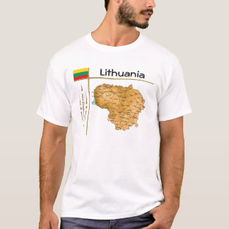 Lithuania Map + Flag + Title T-Shirt