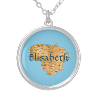 Lithuania Map + Name Necklace