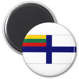 Lithuania Naval Ensign Flag 6 Cm Round Magnet