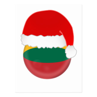 Lithuania Santa, flag and hat Postcard