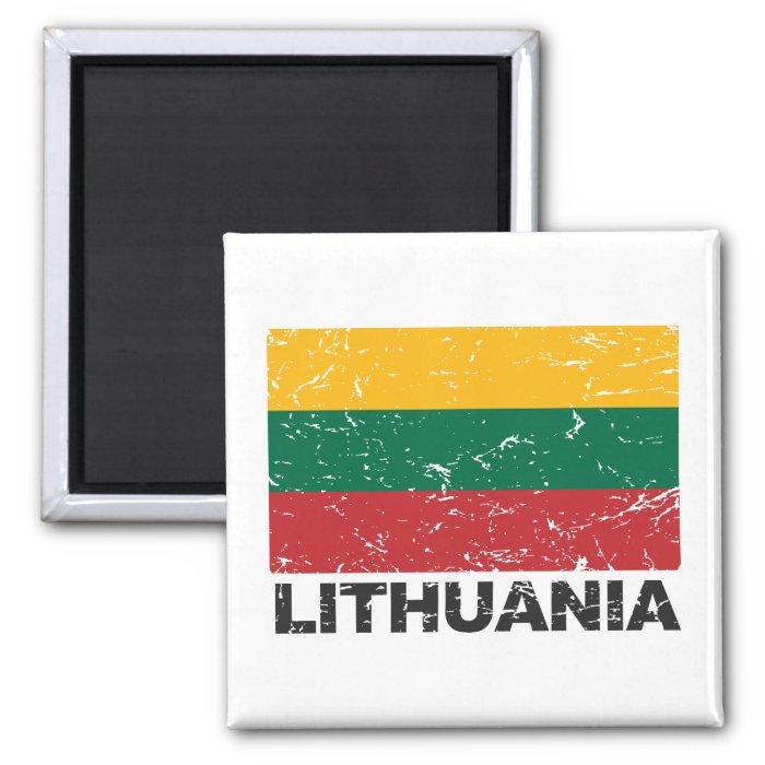 Lithuania Vintage Flag Square Magnet